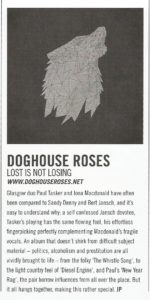 Acoustic magazine review - Doghouse Roses - Lost Is Not Losing